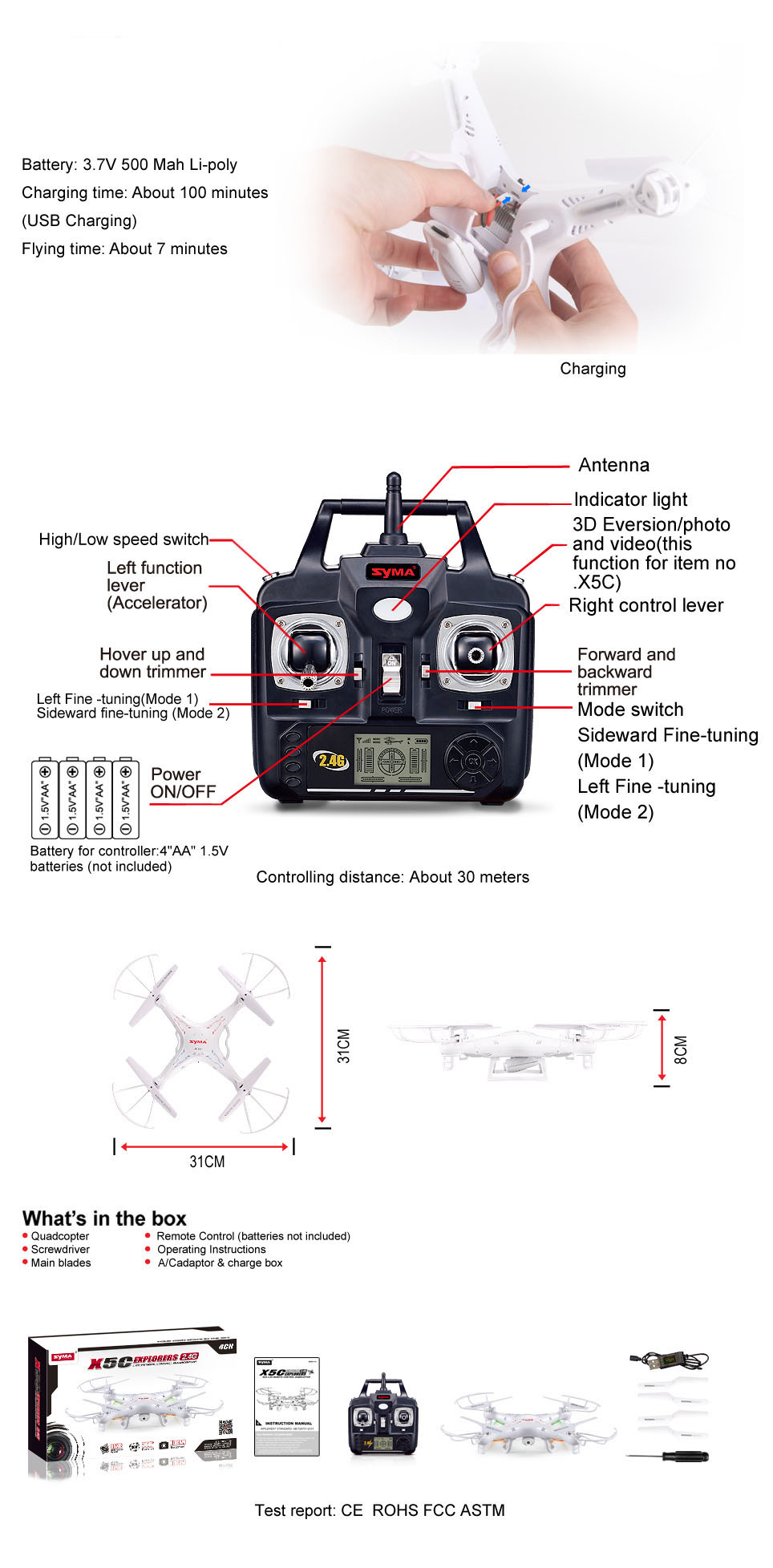 Syma X5c Explorers Quadcopter With Camera Shipping